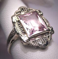 Antique Morganite Ring Vintage Art Deco Wedding Emerald.