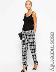 ASOS Maternity Exclusive Peg Trouser in Tile Check Print