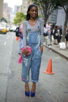 Glamour News Editor Rajni Jacques rocking a pair of denim overalls. I want a pair of overalls SO bad! Denim Overalls, Shorts, Denim Jumper, Farmer Overalls, Long Overalls, I Love Fashion, Denim Fashion, Overalls Fashion, Street Fashion