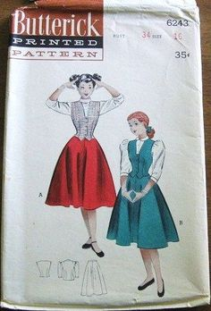 Vintage 1950s Sewing Pattern Butterick 6243