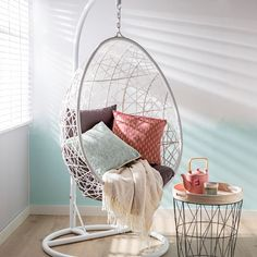 Most Comfortable Office Chair Dream Rooms, Dream Bedroom, Home Bedroom, Bedroom Decor, Swing Chair For Bedroom, Swinging Chair, My New Room, My Room, White Room Decor