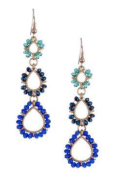 Gold & Blue Triple-Tier Earrings