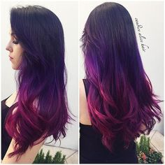 Red purple ombre hair color for black hair girls, wonderful balayage hairstyle: