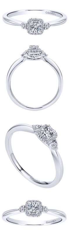 Gabriel & Co. - Be obsessed with this 14k White Gold Contemporary Halo Engagement Ring!