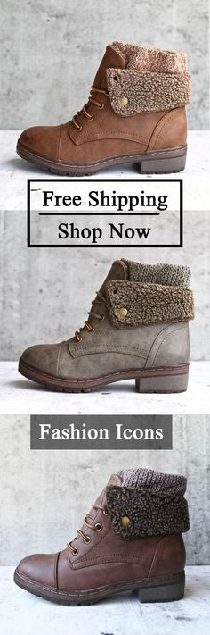 5254a73ed06 Shoespie Trendy Round Toe Lace-Up Patchwork Ankle Boots Vintage Shoes