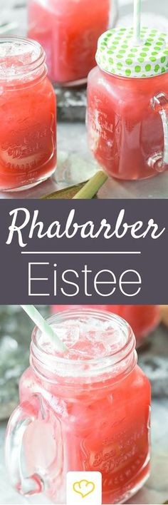 Erfrischender Rhabarber-Ingwer-Eistee All rhubarb - including the drink. This time, instead of peach or lemon, the sweet and sour sticks flavor the cool iced tea made from rose hip and hibiscus. Healthy Juice Recipes, Healthy Juices, Healthy Eating Tips, Tea Recipes, Healthy Nutrition, Healthy Drinks, Healthy Life, Drink Recipes, Smoothies