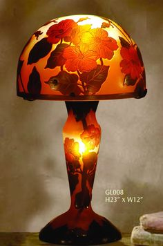 "Emile Gallé- Эмиль Галле- вазы, светильники и мебель. Emile Gallé [French Art Nouveau Glassmaker, 1846-1904]  ---------- MONUMENTAL 40""H GALLE CAMEO FLORAL GLASS TABLE LAMP ------------ ---------------- Lamp French (Nancy), about 1890– --------л-2 ------------------------- ---------------…"