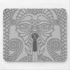 Customizable Abstract Dragon Mousepad grey black Good Luck Chinese, Dragon's Teeth, Elegant Sophisticated, Chinese Symbols, Dragon Head, Day Up, Corner Designs, Mousepad, Custom Clothes