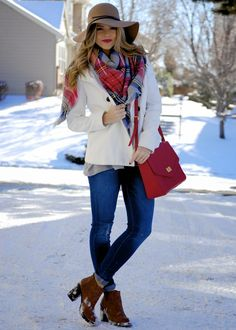 PolishedandPink: White Coat + Plaid Scarf + Jeans + cognac booties + red bag