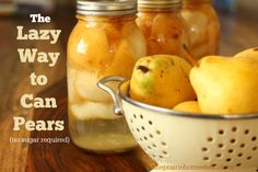 id you know it's totally possible to can pears without adding tons of sugar? Here& the quick, easy, and healthy way to make it happen. Pear Recipes, Real Food Recipes, Yummy Food, Jelly Recipes, Canning Food Preservation, Preserving Food, Pear Preserves, Canning Pears, Canning Recipes