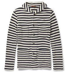 BarenaShawl Collar Open-Knit Cotton-Blend Cardigan