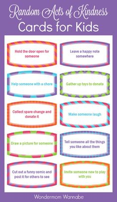 These random acts of kindness cards are designed specifically for kids! Several simple ideas that children can do without mom and dad's help. Such a great way to encourage children to be kind to others.