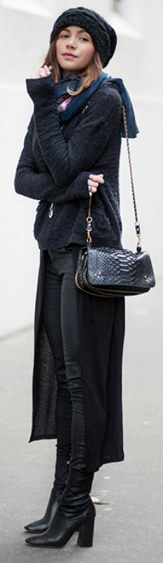 Zoé Alalouch + layers + stylish winter look + ankle boots + black jeans + knitted beanie + little leather bag + Zoe  Jacket: Hoss Intropia, Top/Boots: Zara.  http://www.justthedesign.com/cute-winter-outfits-to-get-you-inspired/
