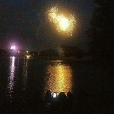 Enjoying fireworks with the neighborhood at the pond!