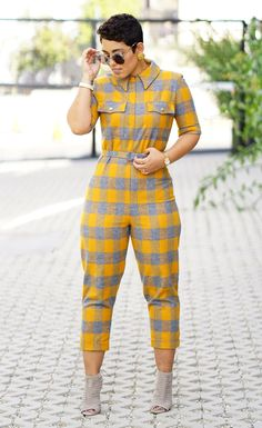 DIY Jumpsuit and Self Covered Belt. Look Fashion, Diy Fashion, Fashion Outfits, Womens Fashion, African Wear, African Dress, Casual Outfits, Cute Outfits, Jumpsuit Pattern