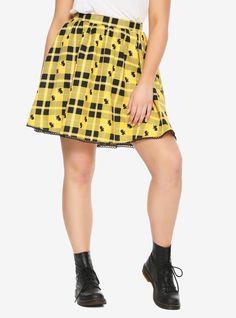 Harry Potter Hufflepuff Plaid Skirt Plus Size, PLAID