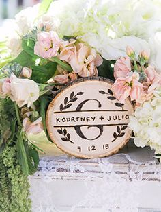 Rustic wooden table numbers.