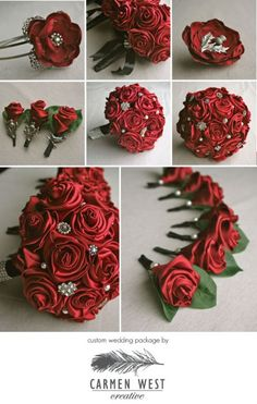 DIY Brooch & Ribbon Flower Bouquet