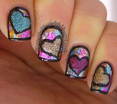 Foiled, textured hearts by Penny Pinching Polish