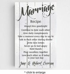 Personalized Marriage Recipe Canvas Sign-White Wood - click to enlarge