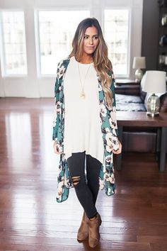 Emerald/Blush Floral Long Kimono - Dottie Couture Boutique