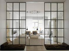 """Raumteiler aus Spiegel (nimmt optisch keinen Raum weg) mit Sprossen (""""factory style"""")?"""