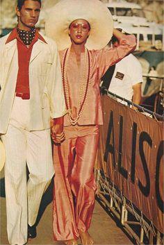 cotton-duck trousers, safari jacket, silk shirt scarf  Saint Laurent  On Pat Cleveland  Carol Horn