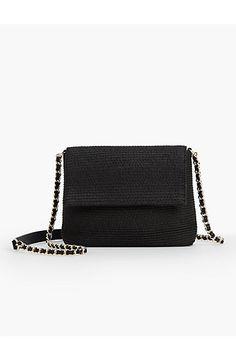 Straw Envelope Crossbody Bag-Black - Talbots