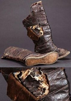 Mongolian armored boots, 15th to 16th c, leather and iron. The National Museum of Mongolian History, in Ulaanbaatar