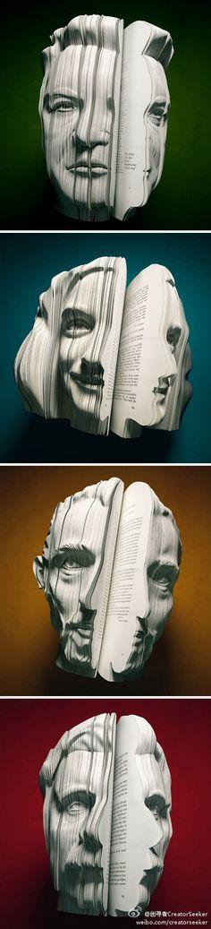 [2/62/2012-1] 让图书变得更加惟妙惟肖,你有什么办法?荷兰的一家公司用3D肖像的造型出版了一系列的人物传记。以传记中的人物造型作为书的形状,让你还没翻开书就知道里面在写谁。看,梦露,林肯,梵高~~ 作者 van wanten etctera 来源 DesignBoom...
