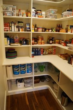 pantry idea - like the deeper shelves on the bottom.... I would make the bottom shelf on the top layer tall enough for small appliances by melanie Butler Pantry, Corner Pantry Organization, Shelves For Pantry, Organized Pantry, Cabinet Shelving, Pantry Ideas, Deep Shelves, Small Pantry, Pantry Storage