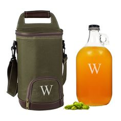 Personalized Growler + Insulated Cooler Set for beer loving and home brewing groomsmen