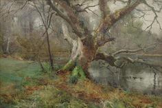 Mildred Anne Butler (1858 — 1941, Ireland ) Willow by the water's edge. watercolour. 36 x 52.2 cm.