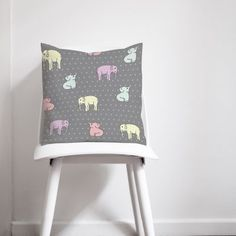 The handmade grey and pink elephants cushion cushion is designed and made in Salford by shadowbright. Geometric Cushions, Grey Cushions, Sofa Pillows, Throw Pillows, Elephant Cushion, Pink Elephant, Elephant Pattern, Elephant Design, Contemporary Cushions