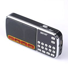 Mifine Mini Q88 Portable Pocket AmFm Mp3 Radio Speaker Music Player Support TF Card  USB DiskWith USB Charging Cable Emergency Flashlight FunctionBlack >>> Find out more about the great product at the image link.