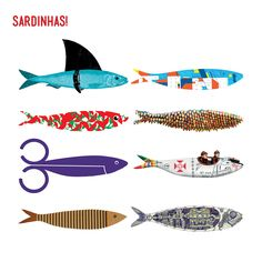 Una sardina lo es todo! Uma Sardinha é tudo! Sardines are the whole! / Festasdelisboa / Fiestas de Lisboa / Lisbon / Illustrations of sardines