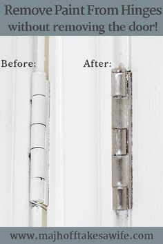 Remove paint from door hinges without removing them! Save yourself time and energy with this simple and easy hack to removing paint on door hinges! Deep Cleaning Tips, House Cleaning Tips, Spring Cleaning, Cleaning Hacks, Diy Hacks, Do It Yourself Design, Ideas Prácticas, Shop Ideas, Cleaning Painted Walls