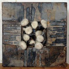 "Hallie LeBlanc Studio 10x10"" Paper, acrylic paint, clay, wool on panel"