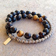 Strength and Prosperity, Ebony and Tiger's eye 27 beads unisex mala bracelet – Lovepray jewelry