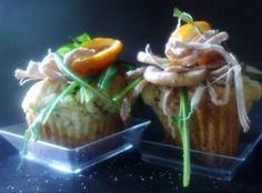 Salad of rabbit, rocket, orange in the pepper flavoured muffin