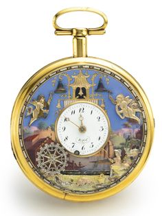 THE FISHERMAN Robert et Courvoisier A RARE AND UNUSUAL GOLD AND ENAMEL QUARTER REPEATING AUTOMATON WATCH NO 82142 CIRCA 1810