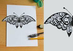 #butterfly #design #tattoo #blackandwhite #dotwork