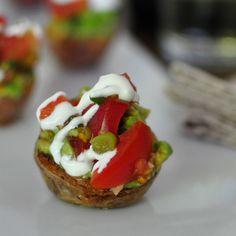 Red Potatoes With Tomato-Avocado Salsa - this is a fun, gluten-free alternative to crostini!