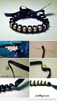 Tutorial paso a paso, pulsera cinta raso y perlas fácil