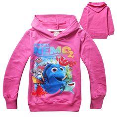 2016 Hot Sale Finding Nemo DORY children hoodies spring and autumn kids girl sweatshirt 100% cotton 7722