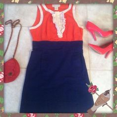FINAL SPRING dress ! Bold colors  ! Beautiful size 10 dress orange blue and creme ruffled designed near bust and neck line! Super flirty light spring style dress above the knee length 2 front pocket design. 97% cotton 3% spandex brand is BB Dakota soft very good material dress sleeveless BB Dakota Dresses Mini