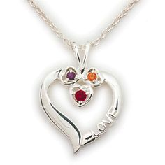 This special personalized heart charm necklace makes a wonderful gift for family. Choose a birthstone for mom and dad and another for daughter. The pendant and chain are made of high quality sterling silver. The chain is a 20 inch curb chain. The heart is 7/8 inches tall and 13/16 inches wide. The birthstones are authentic Austrian crystals and hand implemented.