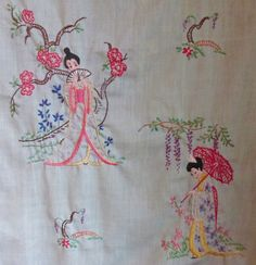 Close up of lower half of the Japanese wall hanging