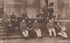 Kaiser Wilhelm II w. whole German Imperial family at meeting in Potsdam  RARE pc