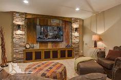 Rustic Basement Design with Reclaimed Corrugated Metal | Finished Basement Company